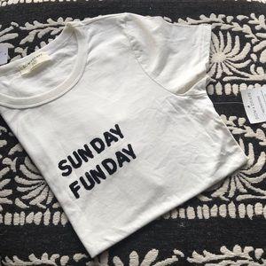 NWT Bow & Drape White Black Sunday Funday T-shirt